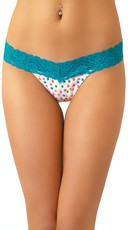 Bubblegum Scented Blue Lace Thong with Gumdrop Print