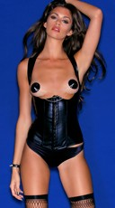 Faux Leather Open Cup Strap Corset