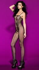 Pinstripe Fishnet Open Crotch Bodysuit