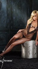 Halter Bodystocking W/ Lace Deep V And Rhinestone Criss Cros