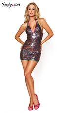 Rainbow Sequin Halter Dress