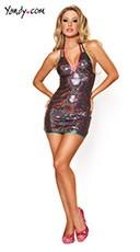 Rainbow Sequin Halter Dress