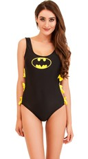 One Piece Bat Girl Swimsuit with Side Tie Cut-Outs