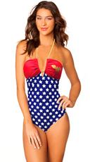 Wonder Woman Bandeau Bathing Suit