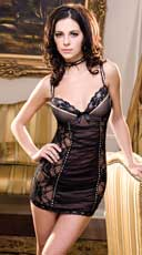 Floral Lace Chemise With Dotted Mesh
