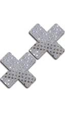 Silver Sequin Cross Pasties