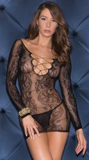 Sheer Long Sleeve V-Neck Chemise