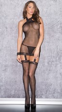 Sheer Black Fantasy Halter Bodystocking