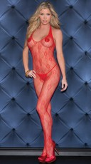 Red Lace Crotchless Halter Neck Bodystocking