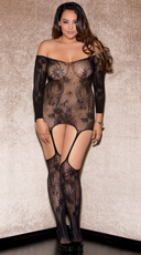 Plus Size Pretty Patterned Garter Chemise