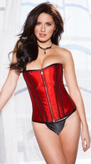 Black and Red Reversible Zipper Corset