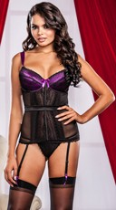 Purple Satin and Mesh Bustier