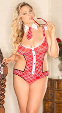 Plus Size Caged Back Naughty School Girl Teddy Costume
