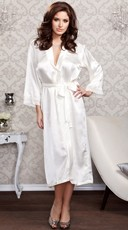 Long Satin and Lace Trimmed Robe