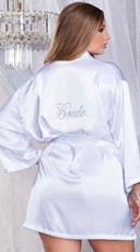 """Plus Size White Satin Robe with Rhinestone """"Bride"""""""
