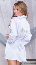 "White Satin Robe with Rhinestone ""Bride"""