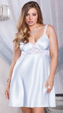 Plus Size Satin Chemise with Lace Insets