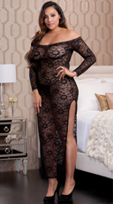 Plus Size Midnight Affair Lace Gown