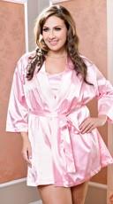 Plus Size Satin Robe with Matching Sash