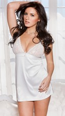Satin Chemise with Lace and Rhinestones