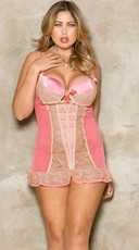 Plus Size Pink Romance Lace Chemise with G-String