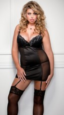 Plus Size Metallic Lace Overlay Chemise And G-string