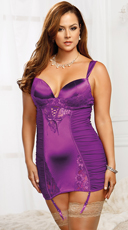 Plus Size Sexy Ruched Chemise Set with G-String