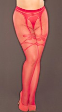 Plus Size Red Fishnet Pantyhose with Faux Garter Bows