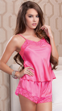 Girly Pink Cami And Shorts Set