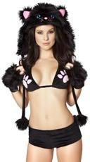 Black Cat Faux Fur Hood