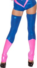 Pink and Blue Metallic Leg Warmers