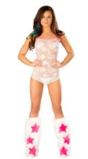 Pink and White Lace Romper and Legwarmer Set