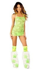 Groovy Green Lace Dress and Legwarmers Set