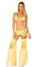 Yellow Lace Tri Top and Skirt Set