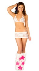 White Lace Tri Top and Skirt Set