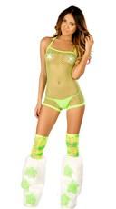 Groovy Green Net Romper Set