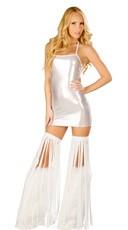 Metallic Silver Mini Dress Set