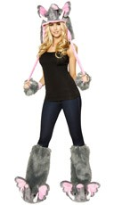 Furry Pink Elephant Costume Set