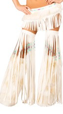 White Indian Fringe Leggings