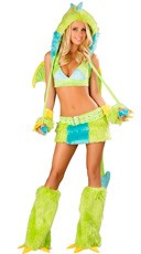 Deluxe Neon Green Puff Dragon Costume
