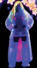Light Up Faux Fur Coat and Net Dress Set