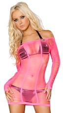 Long Sleeve String Net Dress