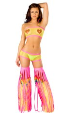 Neon Net Tube Top and Shorts Set