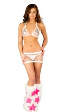 Fishnet Tri Top and Skirt Set