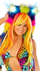 Faux Fur Light-Up Rainbow Hood