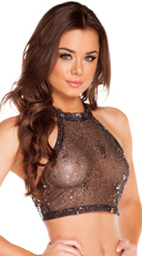 Sequin Mesh Halter Top