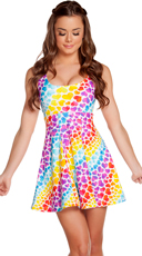 Rainbow Heart Print A-Line Dress