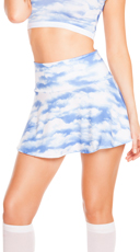 Cloud Print High Waisted Skirt
