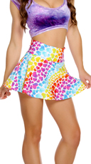 Rainbow Hearts High Waisted Skirt