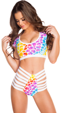 Rainbow Heart Crop Top and High Waisted Short Set